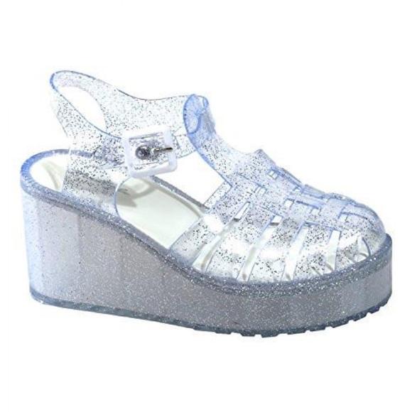Platform Heels Clear Glitter Pink | Dolls Kill